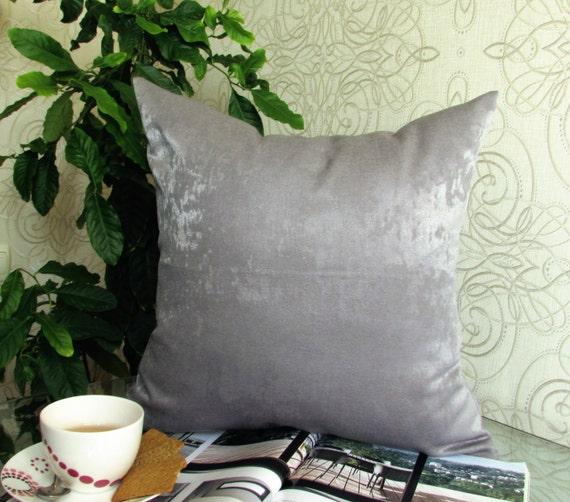 Gray Velvet Throw Pillow Throw Pillows by ModernHouseBoutique