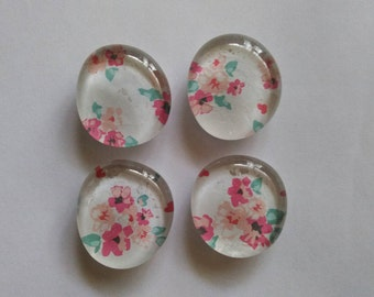 Handmade glass magnets. Set of 4.