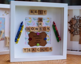 Handmade Scrabble Thank You Teacher Gift Box Frame