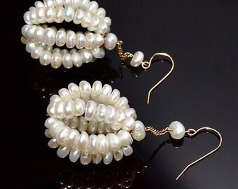 14 Kt Yellow Gold, Freshwater Pearl Dangle Earrings, Vintage