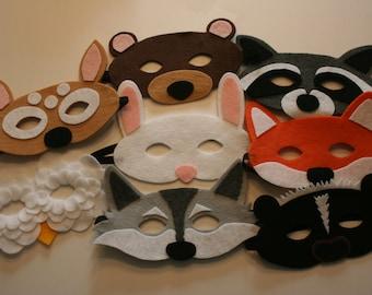 Children's Felt Woodland Masks Set of 8