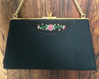 Vintage 1950s embroided handbag stamped LBF Made in England