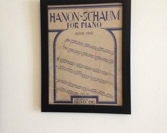 "Antique Sheet Music Cover: ""Hanon-Schaum for Piano"""