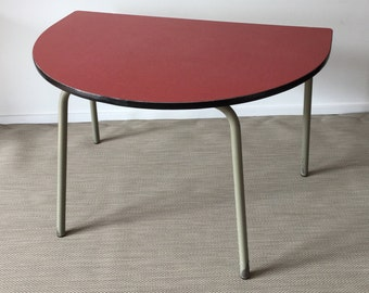 Mid century table semicircular with formica coating and steel tube frame