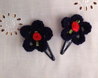 Hand crocheted hair clip