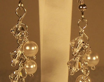 Swarovski Clear Crystal And White Pearl Cluster Dangle Bridal Earrings