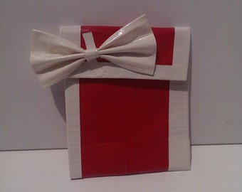 Red and White Duct Tape Coin Purse