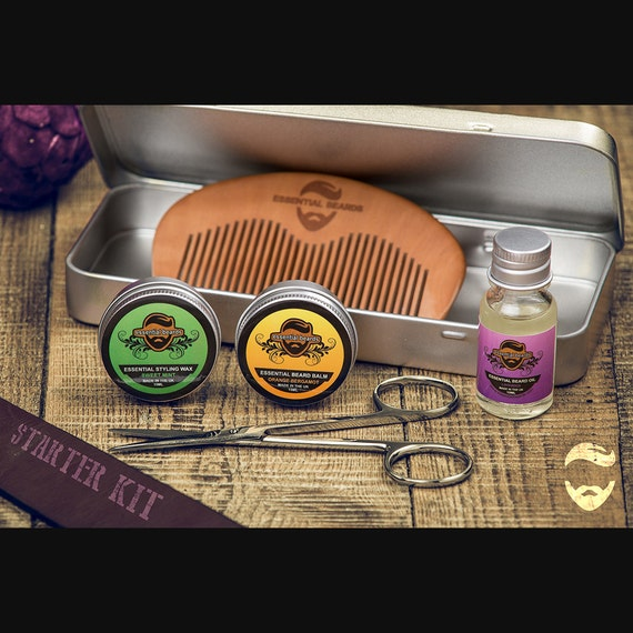 essential beard grooming kit mens gift tin moustache wax. Black Bedroom Furniture Sets. Home Design Ideas