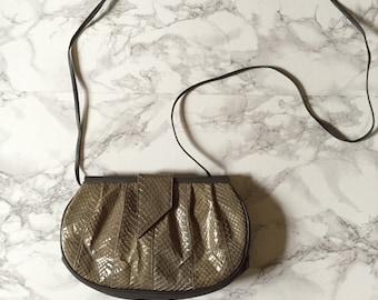 1980s snake skin and leather purse | olive green messenger bag