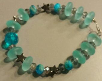 Swarovski Crystals, Sea Glass, Hemalyke Stars, Acrylic Beads Beaded Bracelet, 7.0 inches