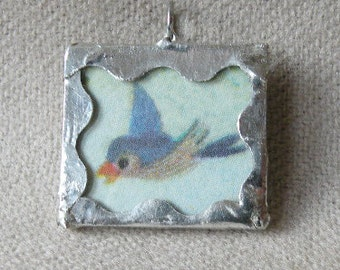 Bluebird and Daisy - 2 sided Handmade Soldered Glass Pendant with Vintage Disney Illustration