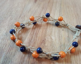 Orange and Blue Beaded Knotted Hemp Bracelet