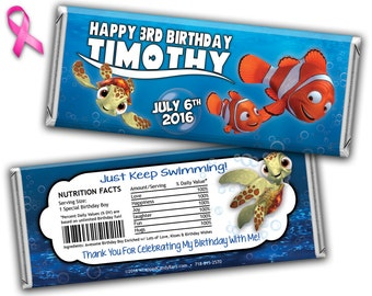 Disney's Finding Nemo Candy Bar Wrappers Printed or Digital File, Nemo Candy Wrapper, Nemo Birthday Candy Wrapper, Nemo Hershey Bar Wrapper