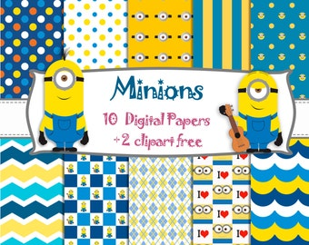 10 DIGITAL PAPERS inspired MINIONS + 2 cliparts free - birthday, fiesta