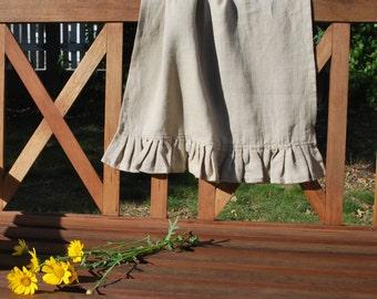Ruffled natural washed linen tea towel, dish towel, kitchen towel 17,7'' x 27,6'' (45x70cm)