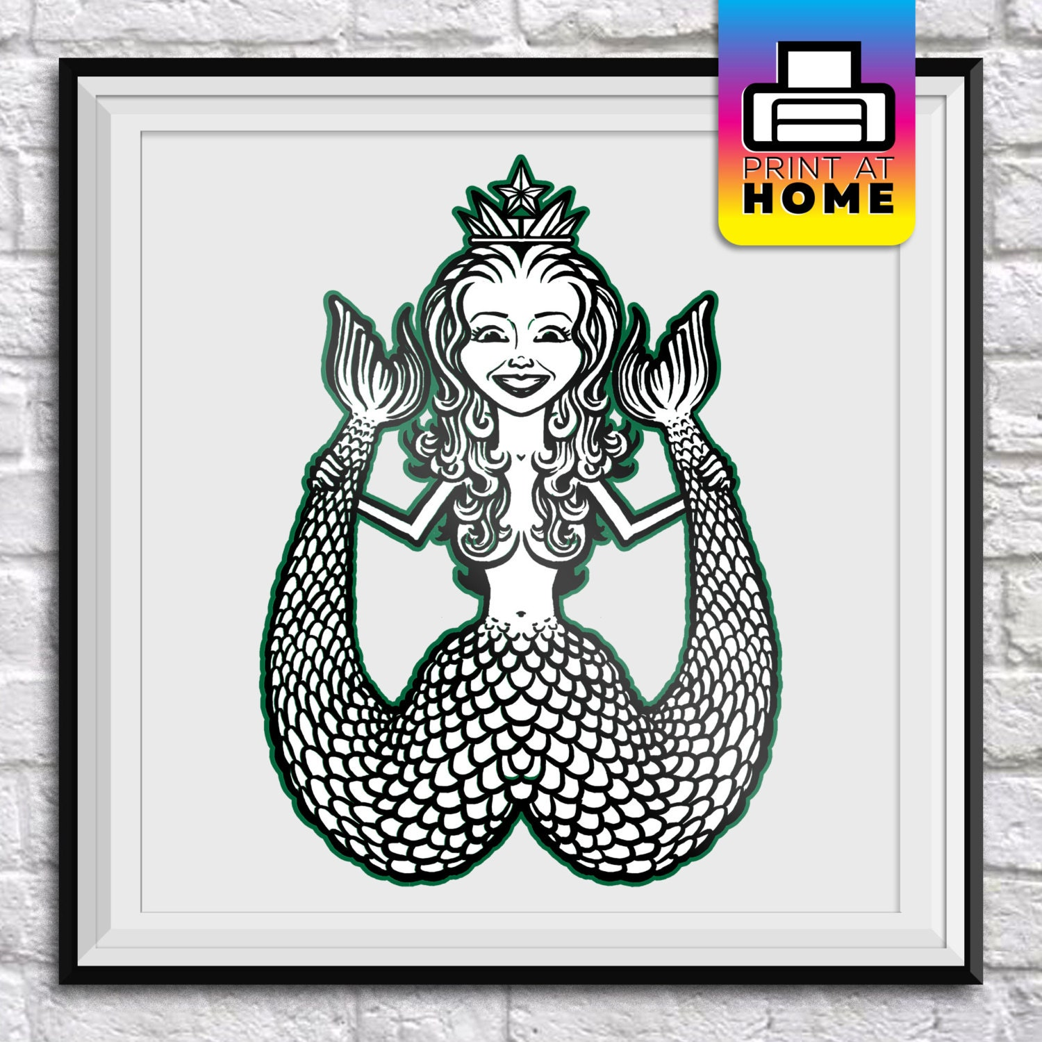Coloring Book Wall Art : Siren Coloring Book Page Wall Art Instant Download