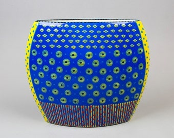 Ceramic Vase, Collectible, Hand Painted from the Potters South-Africa Unique - Blue, with Yellow, Red Pattern
