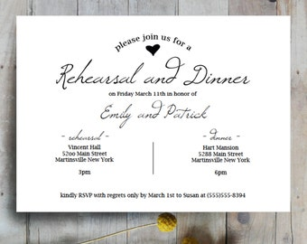 Rehearsal Dinner Invites, rehearsal invitations, dinner invitations, black and white, modern, elegant, printable wedding invites