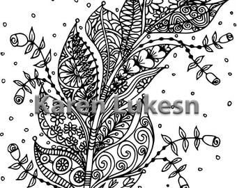 Blooming Feather #2, 1 Adult Coloring Book Page, Printable Instant Download