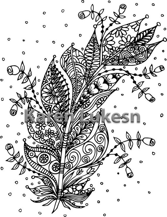Blooming Feather 2 1 Adult Coloring Book Page Printable