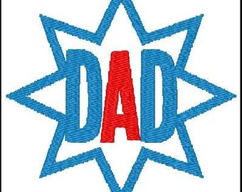 Fill Embroidery Design, Dad, Star, Father's Day, File, Digital, Download, Machine