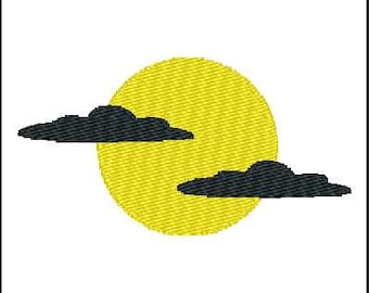 Fill Embroidery Design, Halloween, Moon and Clouds, File, Digital, Download, Machine