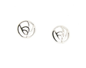 Sterling Silver Rennie Mackintosh Rose Stud Earrings