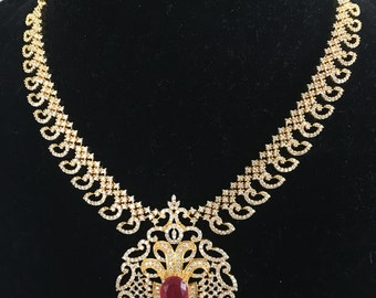 1 Gram Gold Indian necklace adorned with American Diamonds and Rubies!