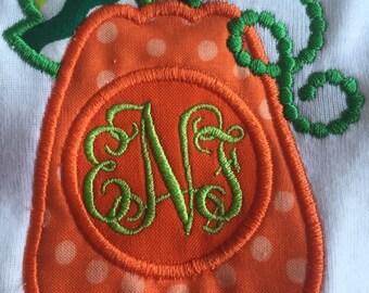 Monogrammed Fall Pumpkin Long Sleeve Onesie