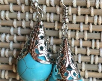 Teardrop Earrings-Turquoise