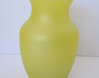 Yellow Frosted Glass Vase