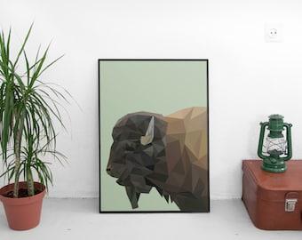 Geometric Buffalo Print