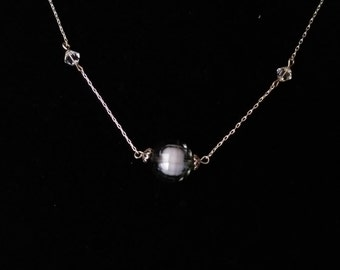 """17"""" Smoked Gray and Crystal Necklace  #2"""