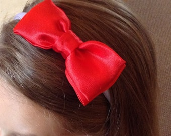 Red Bow Bridesmaid hair band, Bridesmaid hair accessories, Hair piece, Headband, Bridal, Wedding, flower girl accessories, Alice band