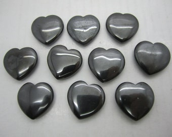 "Bulk 1""(25X7MM) Hematite Pocket Hearts - 10 PC. Lot ~ FREE SHIPPING"