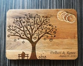 Engraved Cutting Board Tree, Wedding Gift Personalized Custom. Anniversary Gifts, Bridal Shower Gift, Housewarming Gift, Valentines Day