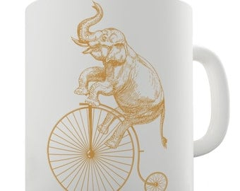 Elephant On Penny Farthing Ceramic Mug