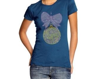 Women's Bow & Bauble Rhinestone Diamante T-Shirt