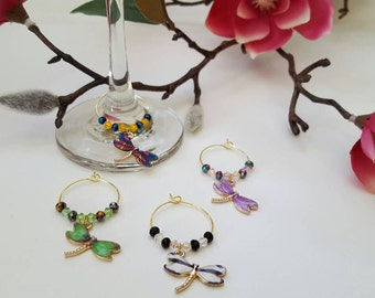 Dragonfly Wine Charms (Set of 4)