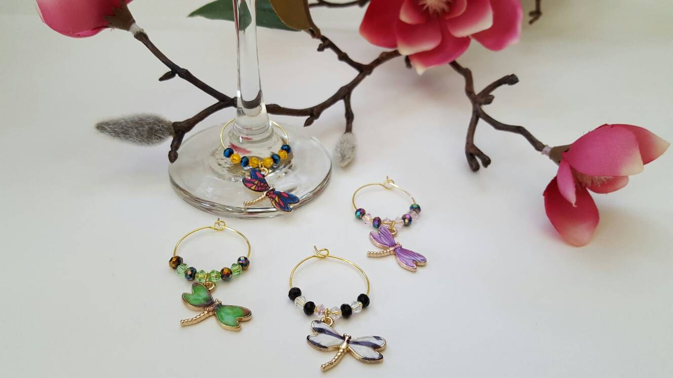 dragonfly wine charms set of 4