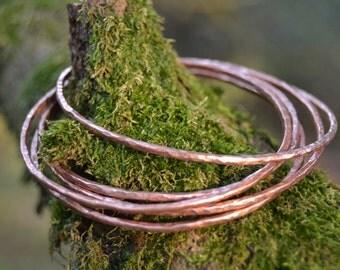 Set of Five Copper Bangles