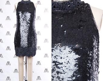 1960s Black Sequin Mock Neck Sleeveless Shift Dress