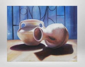 Still life, vase, original oil painting