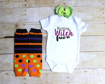 Resting Witch face infant bodysuit, leg warmers, and hair bow 3pc set-Halloween baby outfit