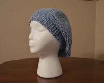 light blue crochet beret