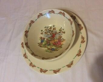 Vintage Bunnykins England Fine Bone China Child Plate and Bowl