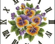 Clock Flowers Premium Digital Cross Stitch Pattern in PDF