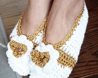 Handmade White and gold crochet slippers