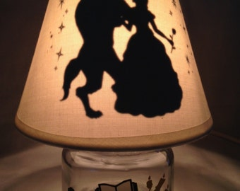 Mini mason jar night light - Beauty and the Beast influenced