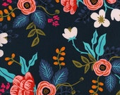 Birch Floral in Navy || Les Fleurs Collection by Rifle Paper Co for Cotton + Steel  || Half or One Yard || Rayon Fabric